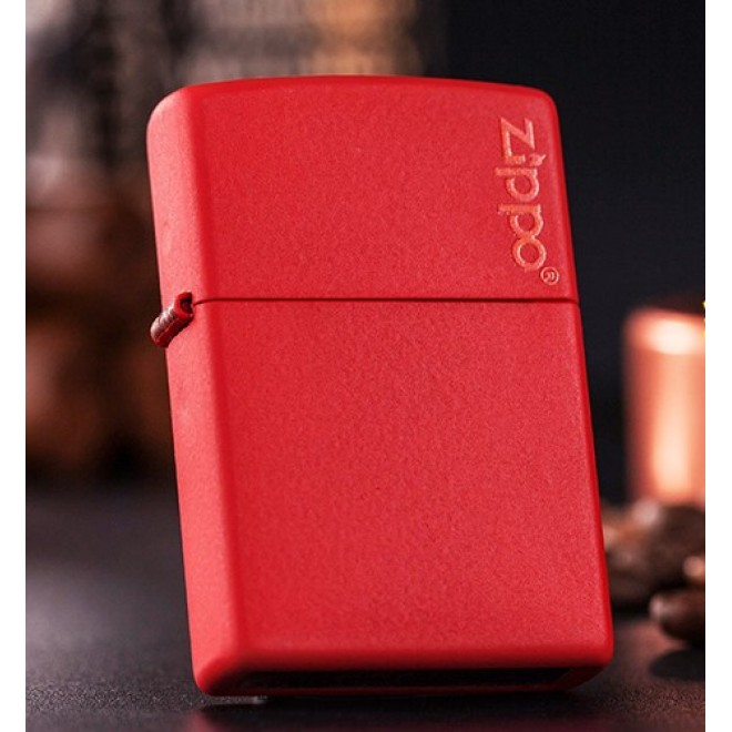 New Red Matte Zippo Lighter 233ZL with Logo