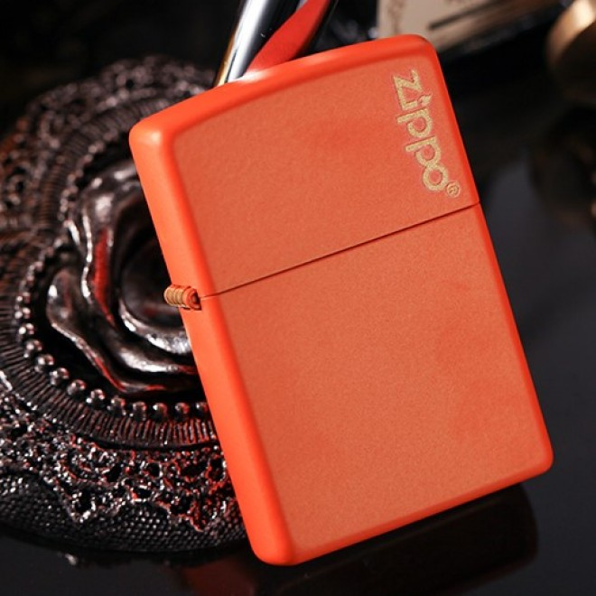 New Orange Matte Zippo Lighter 231ZL with Logo