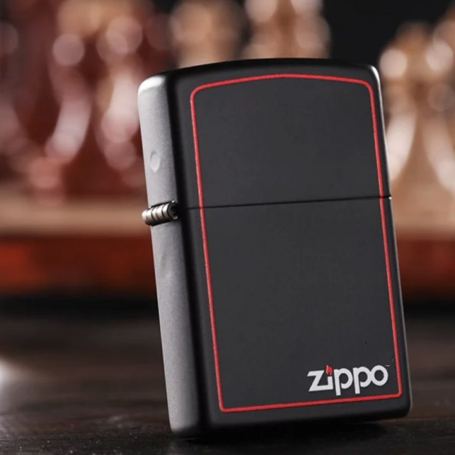 New Black Matte With Red Boarder 218ZB Zippo Lighter