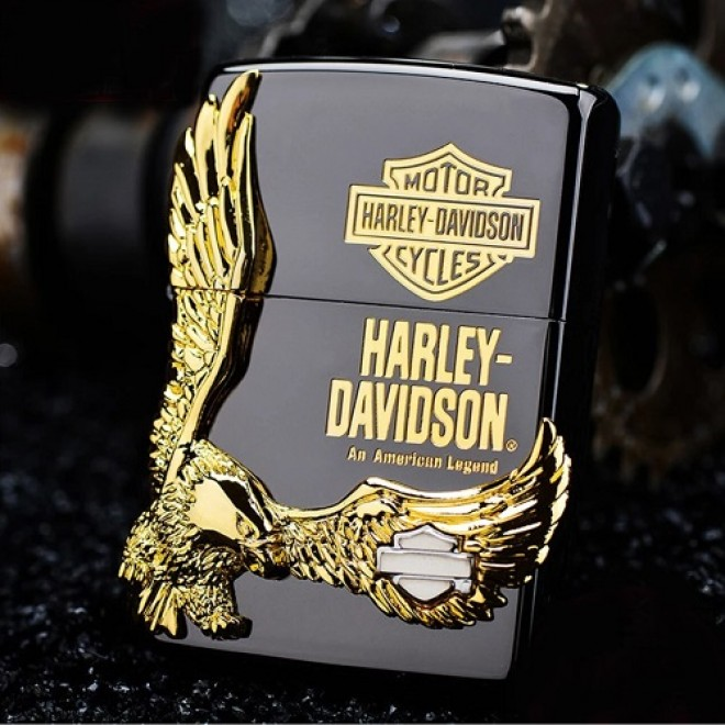 New Black Ice Harley Davidson Great Gold Eagle Zippo Lighter