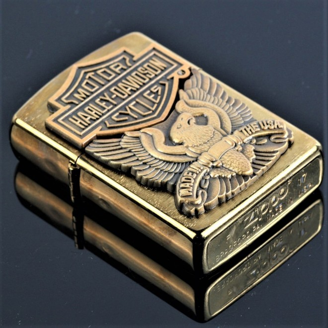 New Gold Harley Davidson Emblem Cycle Zippo Lighter