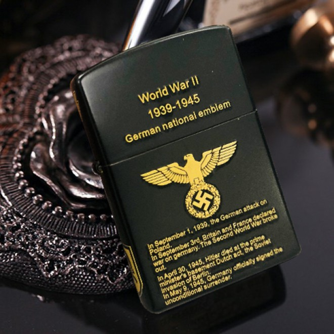New Black Matte World War II German Emblem Zippo Lighter