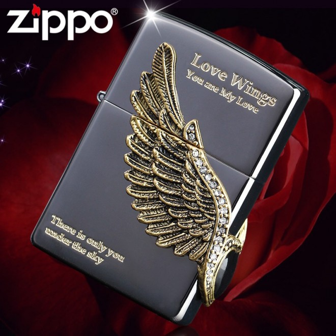 "New Black Ice Love Angel Wings ""You are my love"" Zippo Lighter"