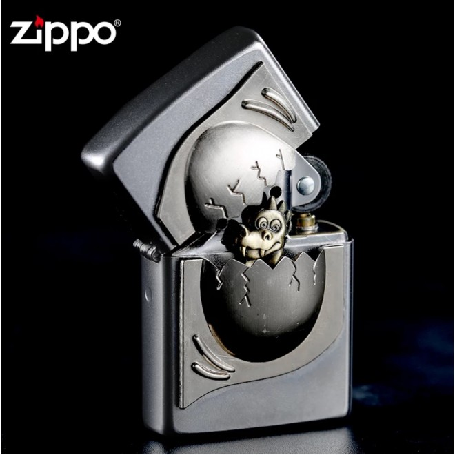 New 3D Emblem Egg With Dinasour Inside Zippo Lighter