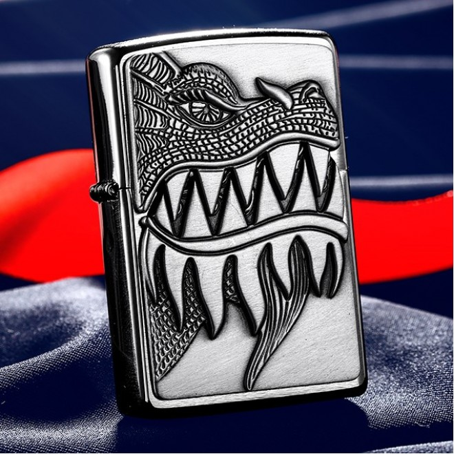 New Silver 3D Emblem Crocodile Hunting Zippo Lighter