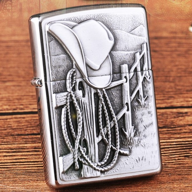 New Silver Cowboy Rope Zippo Lighter