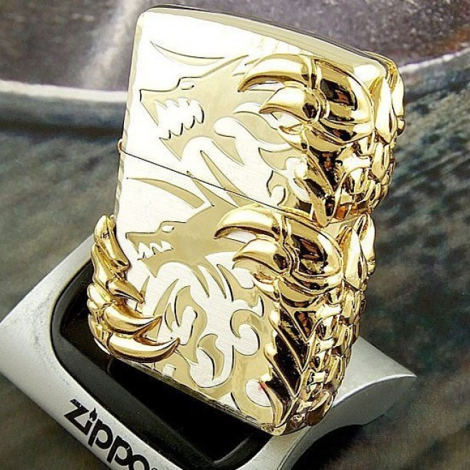 New Golden Japanese Dragon 3 Sided Claw Zippo Lighter