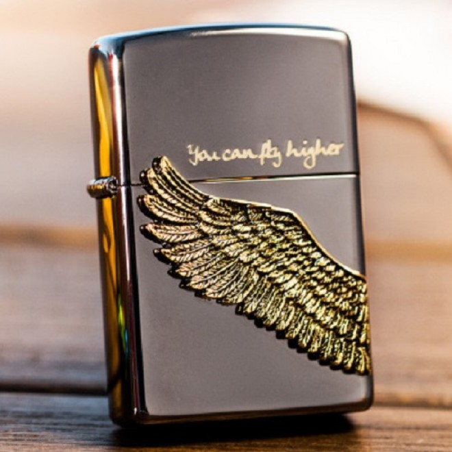 New Black Ice Angel Wing You Can Fly Higher Zippo Lighter
