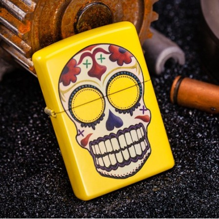 Neon Yellow Skull Day of the Dead 24894 Zippo Lighter