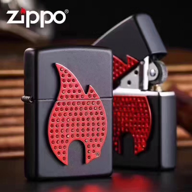 Flame Emblem-sparkling Black Matte Finish 29106 Zippo Lighter