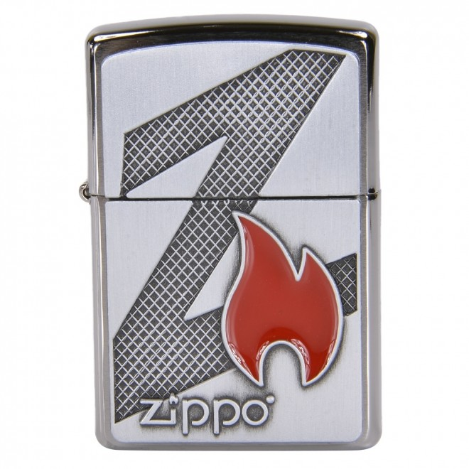 Big Z Flame & Logo Emblem Brushed Chrome 29104 Zippo Lighter