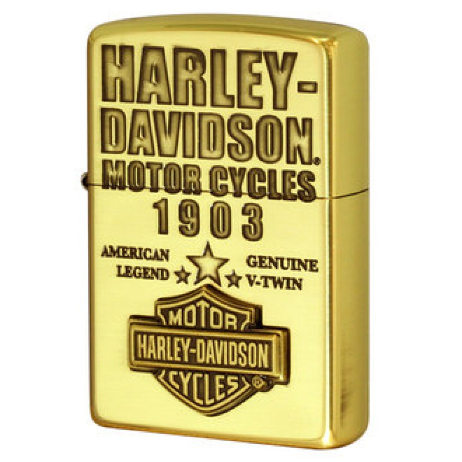 Harley Davidson Japan HDP-61 Antique Brass Emblem Zippo Lighter