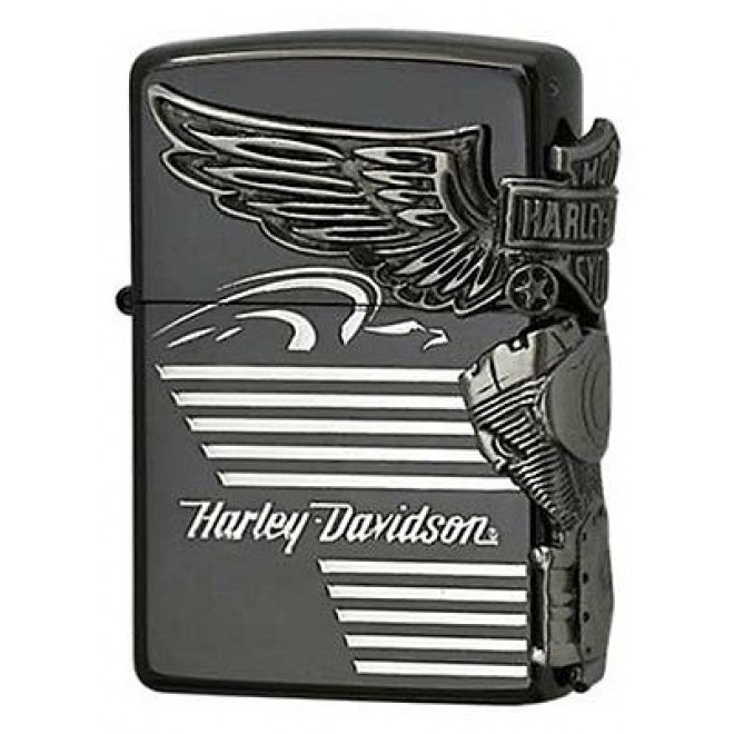 Harley Davidson HDP-25 Limited Edition Black Silver Zippo Lighter