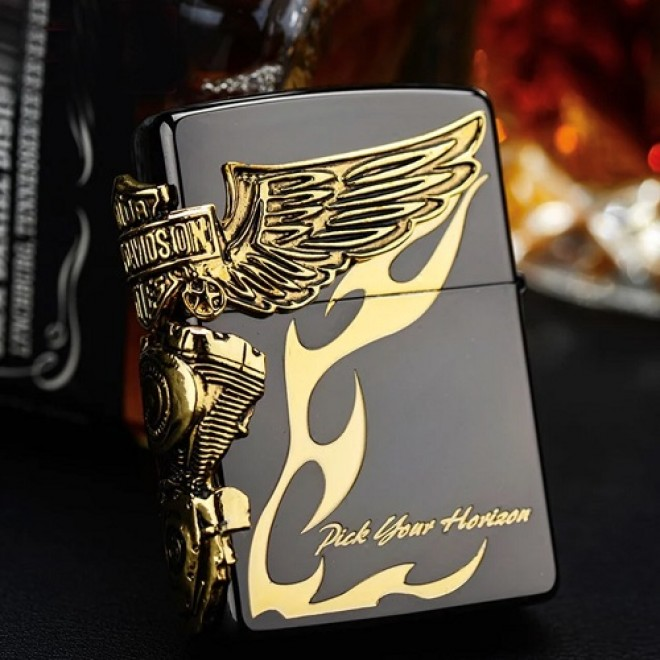 Harley Davidson HDP-24 Limited Edition Black x Gold 3 face Design Zippo Lighter