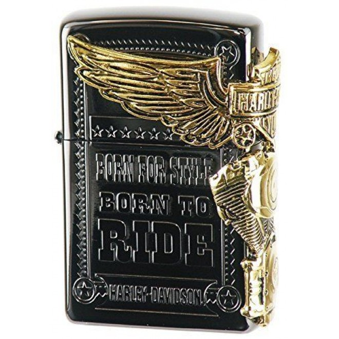 Harley-davidson Side Metal Black X Gold Hdp-48 Japan Limited 2016 Zippo Lighter