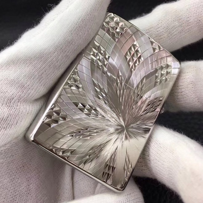 Silver Japanese Armor Diamond Carving Zippo Lighter