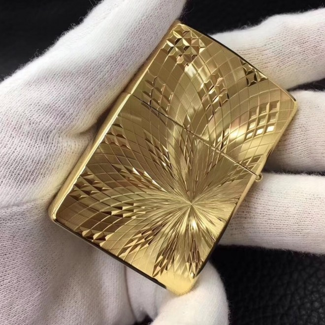Gold Japanese Armor Diamond Carving Zippo Lighter