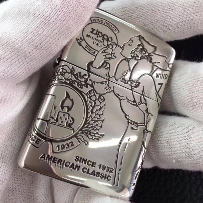 Silver Windproof windpool Girl 4 Sided Engraved Zippo Lighter