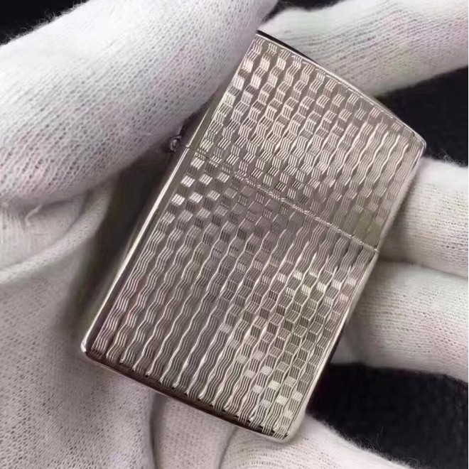Silver Japanese Version Fine Grain Armor Zippo Lighter