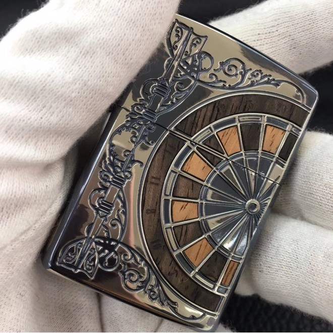 Silver Antique wood boomerang Zippo Lighter