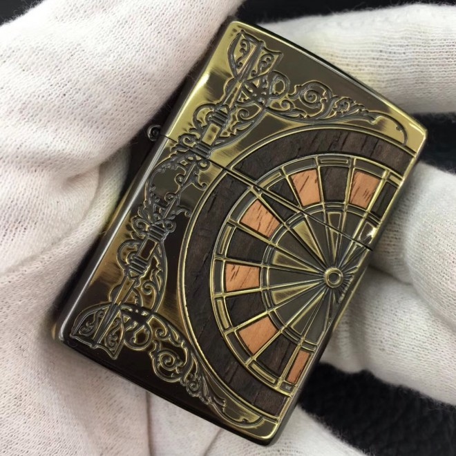 Gold Antique wood boomerang Zippo Lighter