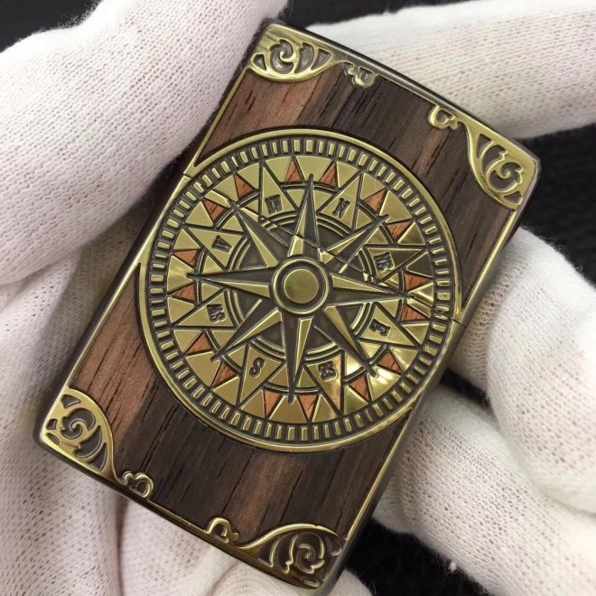 Antique wooden Feeling Compass Zippo Lighter