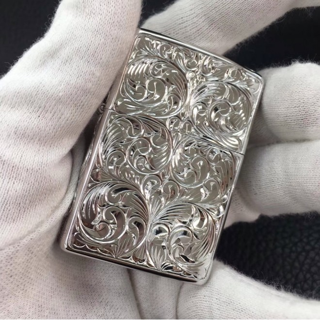 Silver 4 Sided Flower Engraved Zippo Lighter