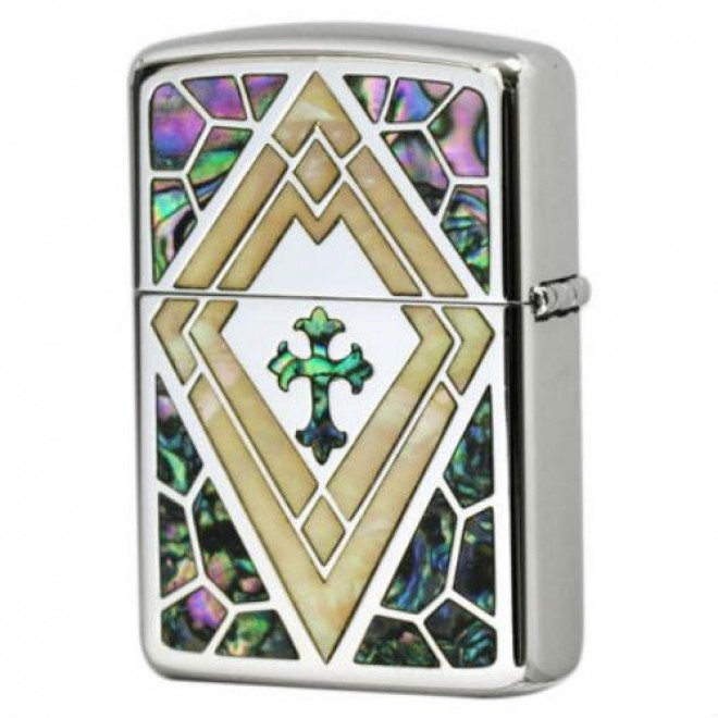 Small Natural White Shell inlay Cross Arabesque Armor Zippo Lighter
