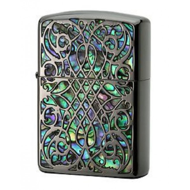 Shell Arabesque Inlay Etching Sculpture Black nickel & blue green Butterfly Armor Zippo Lighter