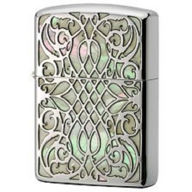 Shell Arabesque Inlay Etching Sculpture Silver Butterfly Armor Zippo Lighter