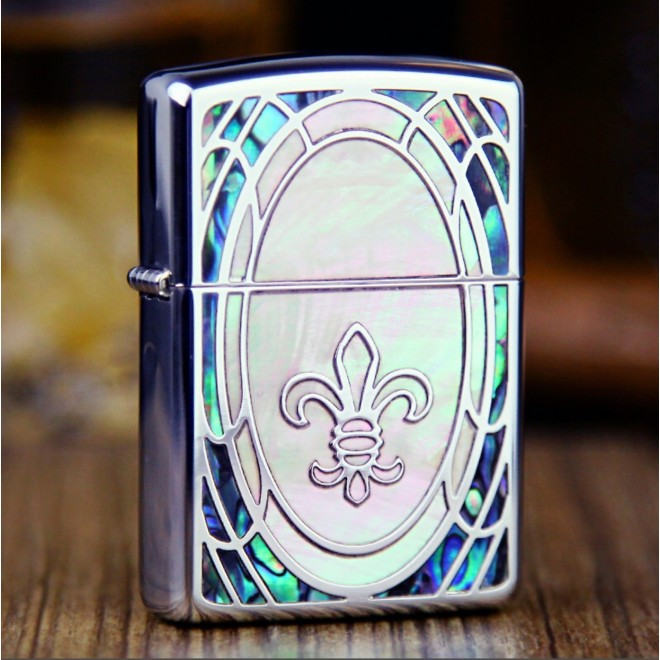 Shell Arabesque Inlay Small Cross Armor Zippo Lighter