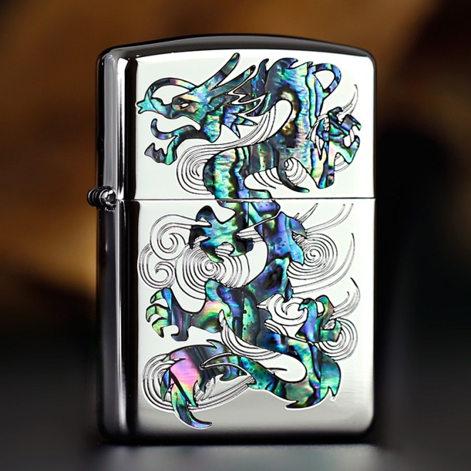 Japanese Dragon Blue Shell Zippo Lighter