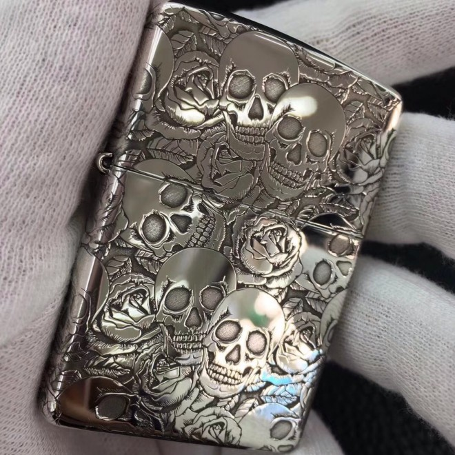 Pure Sterling Silver Skull Pure Fine Carving Zippo Lighter