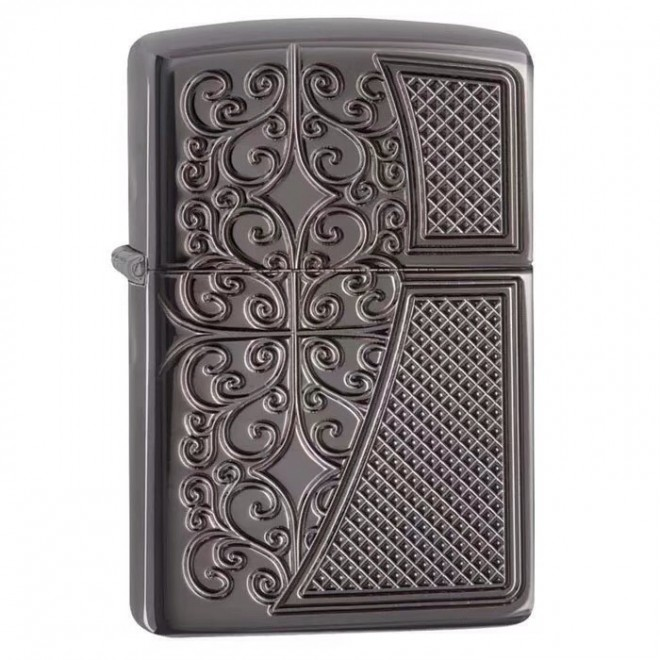 Black Ice Armor Old Filigree Deep Carved 29498 Zippo Lighter