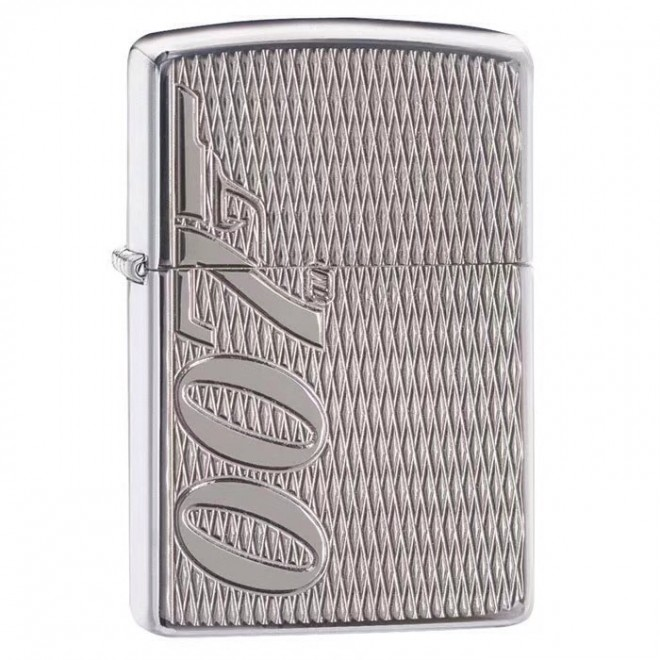 007 James Bond Chrome Armor Deep Carved 29550 Zippo Lighter