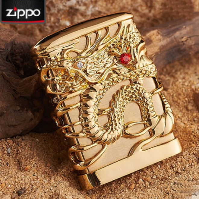 Gold Japanese Dragon Red Ruby Zippo Lighter