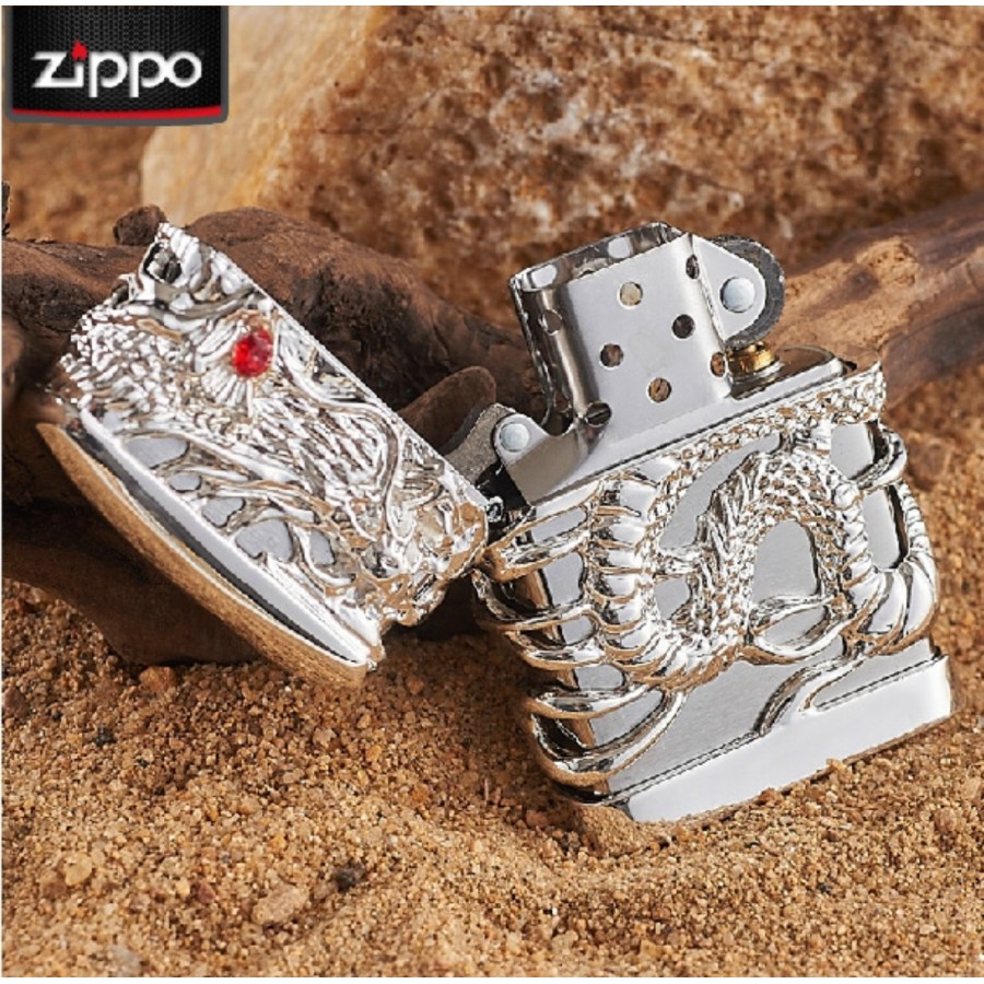 Silver Japanese Dragon Red Ruby Zippo Lighter