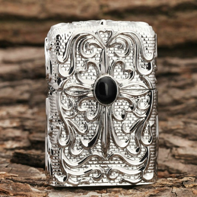 Silver Black Pearl Japanese Armor Craft Zippo Lighter