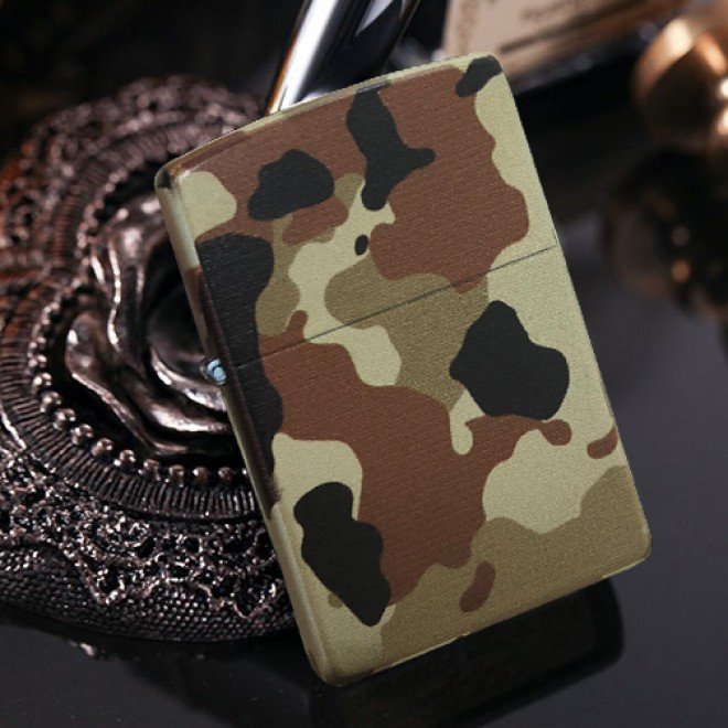 Brown Matte Camouflage Armor Zippo Lighter