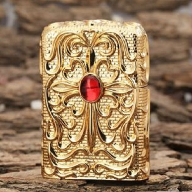 Gold Red Ruby Japanese Armor Craft Zippo Lighter