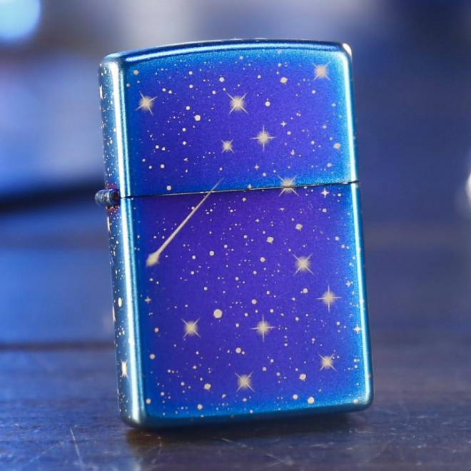 All Sided Night Twinkle Star Blue Ice Zippo Lighter