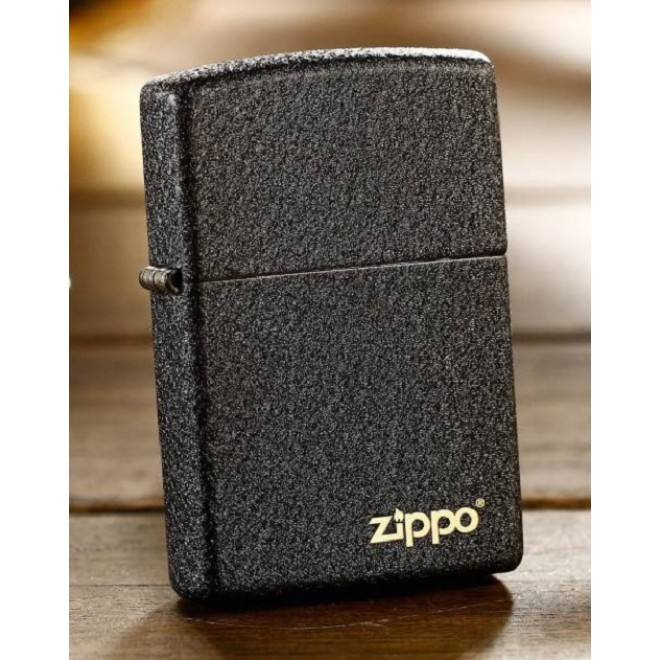 Black Crackle rough surface matte 236 Zippo Lighter with logo