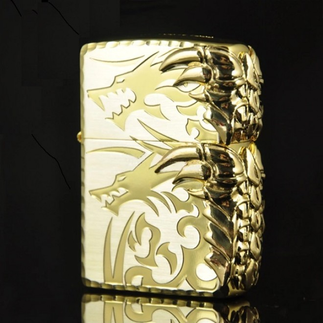 Gold 2 Sided Claw Dragon Zippo Lighter
