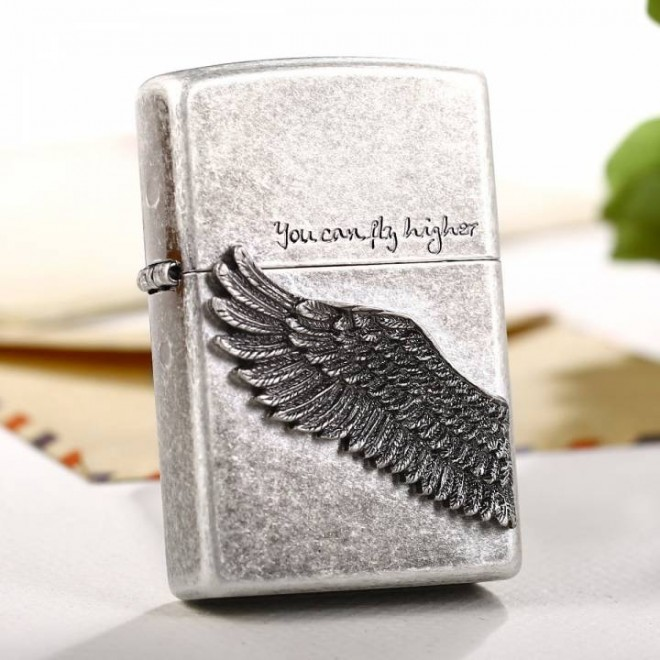 Tattoo Angel Wing You Can Fly Higher Zippo Lighter