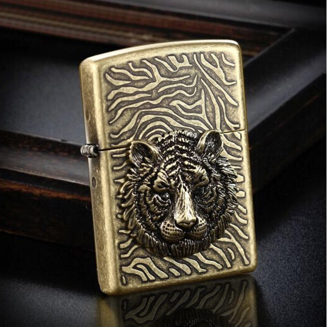 3D Tiger Head With Crystal Eye Zippo Lighter
