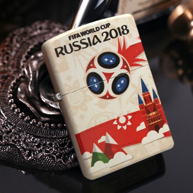 White Matte 2018 World Cup Limited Edition Zippo Lighter