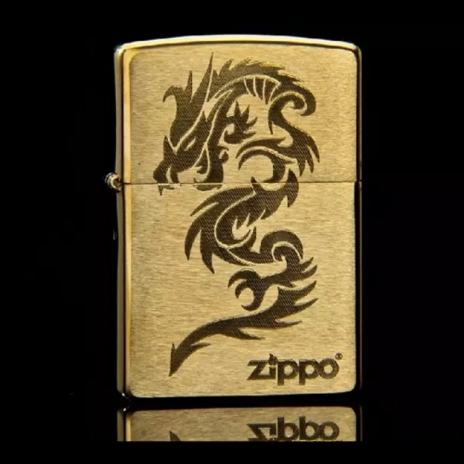 Gold Printed Dragon Zippo Lighter