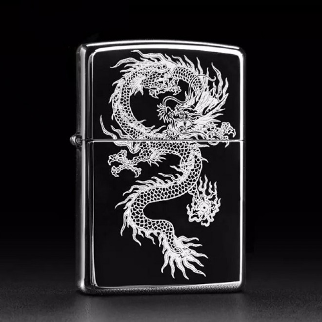 Black Ice Printed Dragon Zippo Lighter
