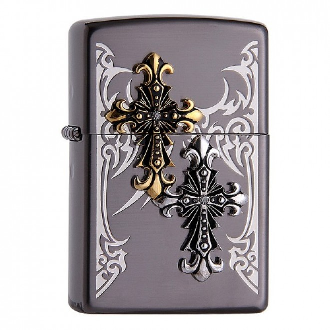 Korean Black Ice Double Tribal Cross Armor Zippo Lighter