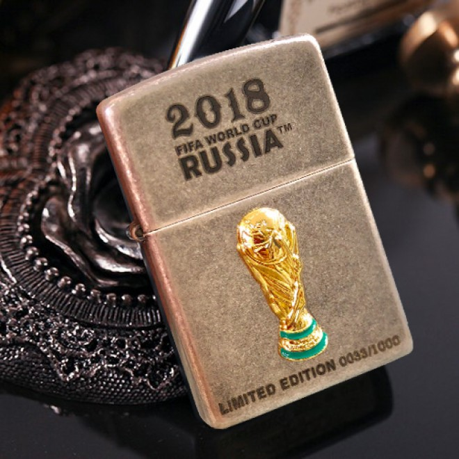Antique Silver Plated 2018 World Cup Russia Limited Edition Zippo Lighter